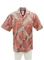 [Exclusive] Anuenue Pua Kenikeni Lei Coral Brown Poly Cotton Men's Hawaiian Shirt
