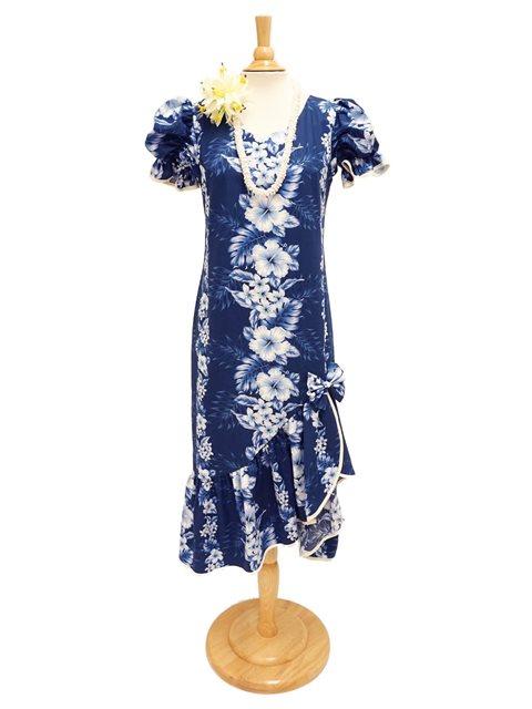4ce9e21d5e443 Two Palms Pacific Panel Navy Cotton Hawaiian Long Muumuu Dress ...