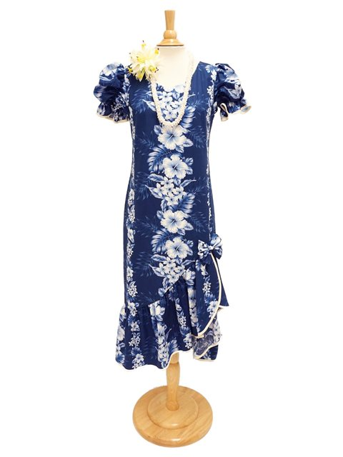 Pacific Panel Navy Cotton Hawaiian Long Muumuu Dress