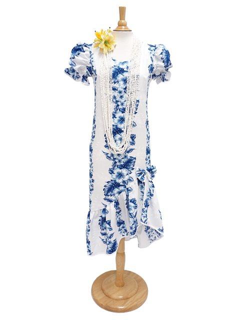 170a38e1cd6 Two Palms Pacific Panel White Cotton Hawaiian Long Muumuu Dress ...
