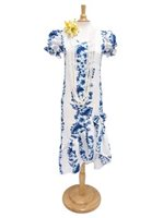 Two Palms Pacific Panel White Cotton Hawaiian Long Muumuu Dress