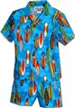 Pacific Legend Surfboard Blue Cotton Boys Hawaiian Cabana Set