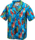 Pacific Legend Surfboard Blue Cotton Boys Junior Hawaiian Shirt