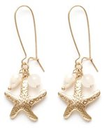 Splendid Iris Pearl & Crystal Beads Large Gold Starfish Earrings
