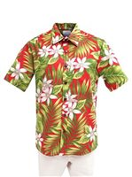 [Exclusive] Anuenue Ginger & Tiare Red Poly Cotton Men's Hawaiian Shirt