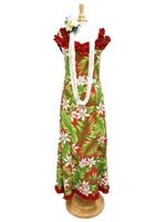 [Exclusive] Anuenue Ginger & Tiare Red Poly Cotton Hawaiian Nahenahe Ruffle Long Muumuu Dress