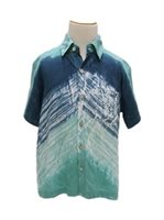 Angels by the Sea Tie dye Teal Boy's Aloha Shirt in Wave