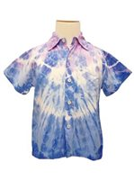 Angels by the Sea Tie Dye Purple Rayon Boys Hawaiian Shirt
