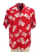 Pineapple Juice Pineapple Red Rayon Men's Hawaiian Shirt