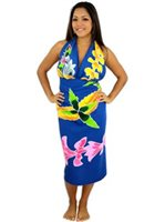 Pareo Island Hawaiian Lei Royal Blue Premium Hand Printed Pareo Sarong