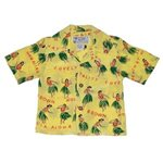 Avanti Hula Hands Yellow Silk Boys Hawaiian Shirt