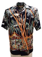 Pineapple Juice Hawaiian Palm Navy Rayon Men's Hawaiian Shirt