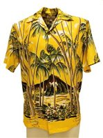 Pineapple Juice Hawaiian Palm Yellow Rayon Men's Hawaiian Shirt
