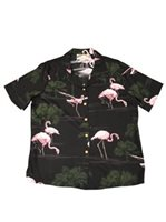 Paradise Found Flamingo Black Rayon Ladies Hawaiian Shirt