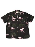 Paradise Found Flamingo Black Rayon Men's Hawaiian Shirt