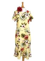 Royal Hawaiian Creations Hibiscus&Monstera Light Yellow Rayon Hawaiian Amber Sleeve Midi Dress