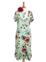 Royal Hawaiian Creations Hibiscus&Monstera Light Blue Rayon Hawaiian Amber Sleeve Midi Dress