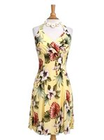 Royal Hawaiian Creations Hibiscus&Monstera Light Yellow Rayon Hawaiian Halter Neck Midi Dress