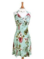 Royal Hawaiian Creations Hibiscus&Monstera Light Blue Rayon Hawaiian Halter Neck Midi Dress