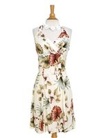 Royal Hawaiian Creations Hibiscus&Monstera Cream Rayon Hawaiian Halter Neck Midi Dress