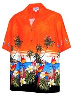 [Plus Size] Pacific Legend Parrot Orange Cotton Men's Hawaiian Shirt