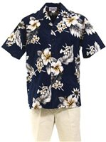 [Plus Size] Pacific Legend Hibiscus Navy Cotton Men's Hawaiian Shirt