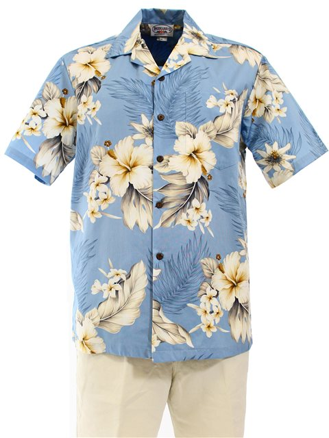 9dd97bf3e24 Plus Size  Pacific Legend Hibiscus Blue Cotton Men s Hawaiian Shirt ...