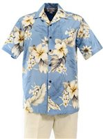 [Plus Size] Pacific Legend Hibiscus Blue Cotton Men's Hawaiian Shirt