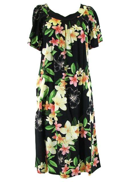 fbdd4fe90ac Plus Size  Two Palms Nadina Black Rayon Hawaiian Midi Muumuu Dress ...