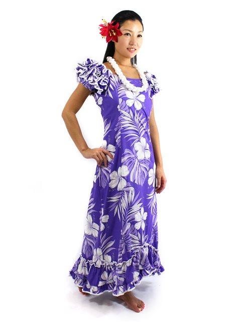 [Plus Size] Hibiscus Purple Cotton Hawaiian Ruffle Long Muumuu Dress