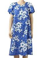 e2511e22206  Plus Size  Two Palms Crack Hibiscus Blue Cotton Hawaiian Midi Muumuu Dress
