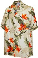 [Plus Size] Pacific Legend Bird Of Paradise Cream Cotton Men's Hawaiian Shirt