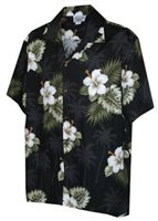 [Plus Size] Pacific Legend Hibiscus Monstera Black Cotton Men's Hawaiian Shirt