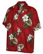 [Plus Size] Pacific Legend Hibiscus Monstera Red Cotton Men's Hawaiian Shirt