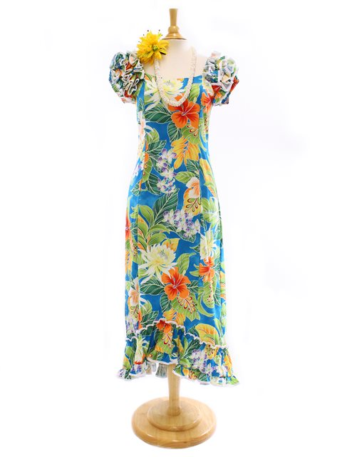 [Plus Size] Pacific Legend Tropical Flower Blue Cotton Hawaiian Ruffle Long  Muumuu Dress