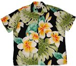 Paradise Found Plumeria Beauty Black Rayon Men's Hawaiian Shirt