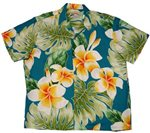 Paradise Found Plumeria Beauty Jade Rayon Men's Hawaiian Shirt