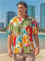 Paradise Found Plumeria Beauty Red Rayon Men's Hawaiian Shirt