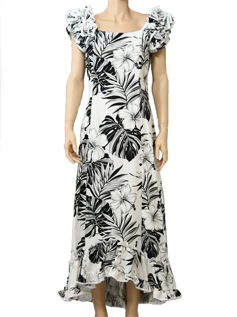 2aaa9c958e4  Plus Size  Hibiscus   Monstera White Cotton Hawaiian Ruffle Long Muumuu  Dress