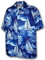 [Plus Size] Pacific Legend Yacht Navy Cotton Men's Hawaiian Shirt