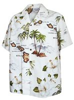 [Plus Size] Pacific Legend Island Chain White Cotton Men's Hawaiian Shirt