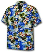 [Plus Size] Pacific Legend Diamond Head Blue Cotton Men's Hawaiian Shirt