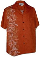[Plus Size] Pacific Legend Ocean Panel Tangy Cotton Men's Hawaiian Shirt