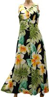 Paradise Found Plumeria Beauty Black Rayon Hawaiian Long Dress