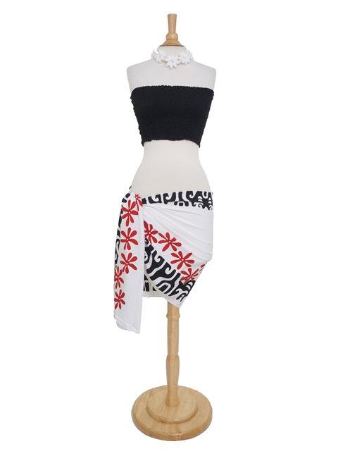 704e0a3157aa8 Tattoo Tiare White, Black & Red Half Size Hand Printed Pareo Sarong