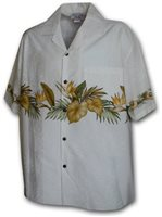 [Plus Size] Pacific Legend Hibiscus White Cotton Men's Hawaiian Shirt