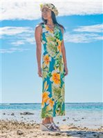 Paradise Found #190 Plumeria Beauty Jade Rayon Hawaiian Long Dress