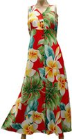Paradise Found 190 Plumeria Beauty Red Rayon Hawaiian Long Dress
