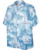 [Plus Size] Pacific Legend Yacht Slate Cotton Men's Hawaiian Shirt