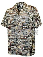 [Plus Size] Pacific Legend Tapa Brown Cotton Men's Hawaiian Shirt